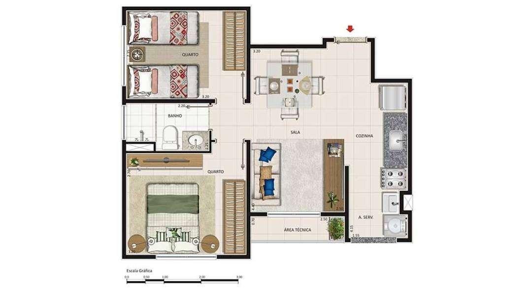 2 ou 3 quartos com muito lazer!